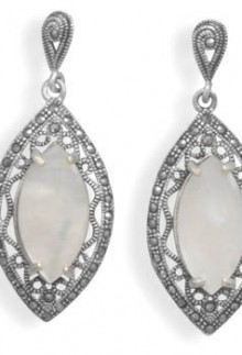Marcasite White Shell Earrings