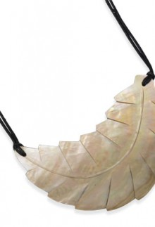Carved Shell Leaf Necklace
