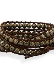 Leather & Pyrite Wrap Bracelet