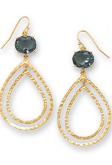 14 K Gold & Dusky Blue Crystal Earrings