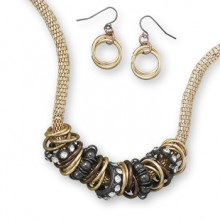 Black and Gold Necklace & Earrings