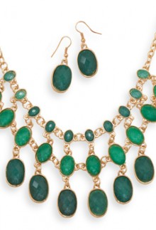 Emerald Bead Necklace Set