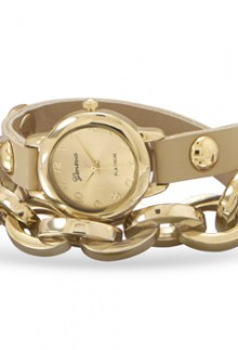Leather Wrap Watch with Gold Links
