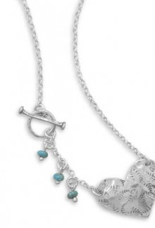 Sterling Silver Heart & Turquoise Accent Necklace