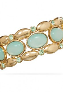 Mint Green & Gold Stretch Bangle Bracelet