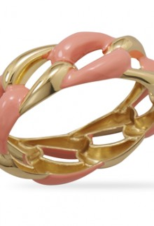 Gold and Pink Bangle Bracelet