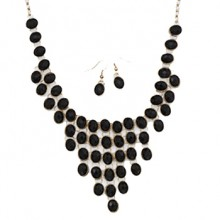 Black & Gold Necklace & Earrings Set
