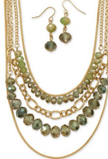 Graduated Necklace & Earrings Set