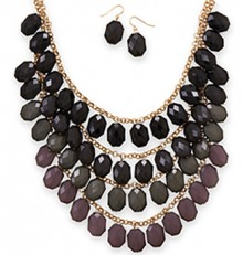 Four Tier Necklace & Earrings Set