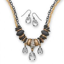 Two Tone Crystal Necklace & Earrings Set