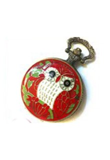 Love the Owl Watch Necklace Red