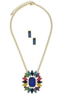 Sunburst Pendant Necklace with Earrings- Multi