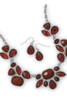 Red Glass Necklace & Earring Set