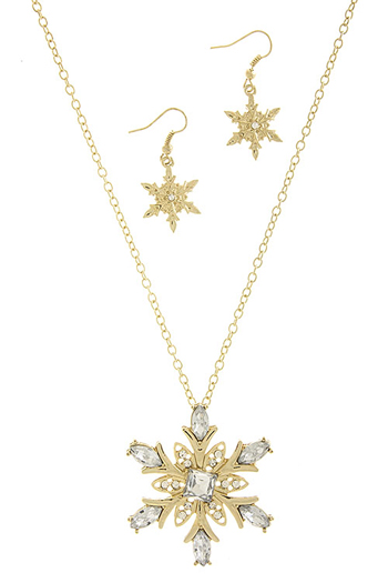 Snowflake Necklace Earring Set Gold Color